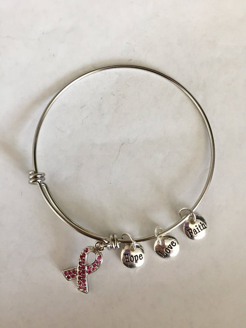 Breast Cancer Awareness Pink Ribbon Charm Bracelet - The House of Awareness