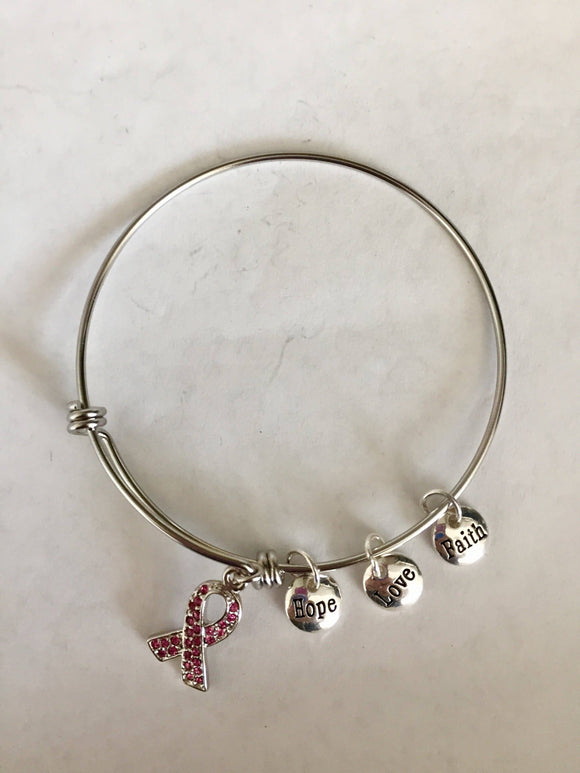 Breast Cancer Awareness Pink Ribbon Charm Bracelet