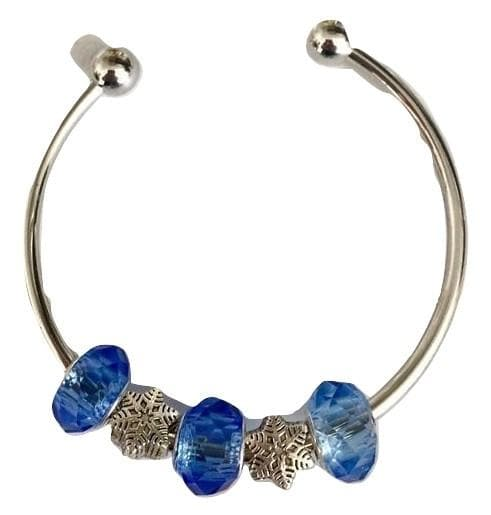 Snowflake and Blue Charms Bangle Bracelet - The House of Awareness