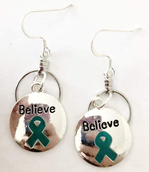 Teal Ribbon Believe Charm Small Hooped Earrings for Cancer - The House of Awareness