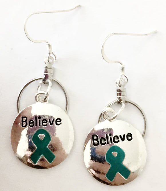 Teal Ribbon Believe Charm Small Hooped Earrings for Cancer