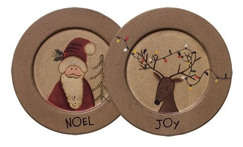 Noel Santa and Joy Reindeer Plate - The House of Awareness