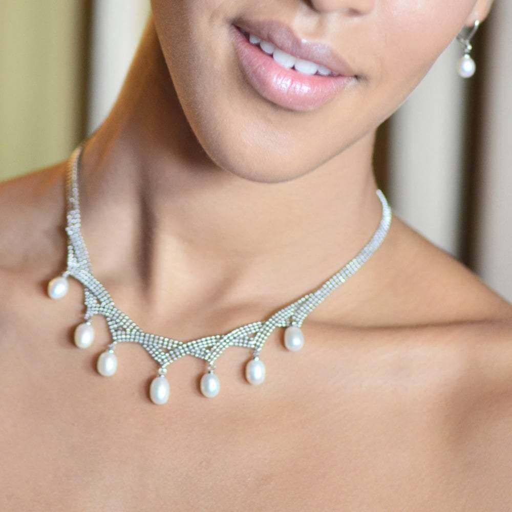 Designer Grace Pearl and Silver Mesh Princess Necklace