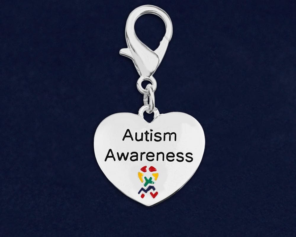Autism Awareness Hanging Heart Charm Hanging Charm