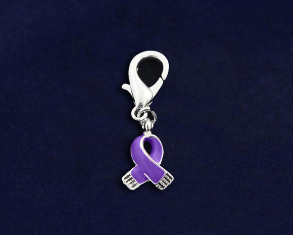 Purple Ribbon Hanging Charm for Awareness Causes