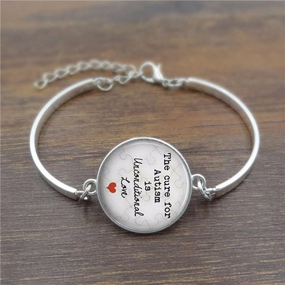The cure for Autism is unconditional Love Glass Dome Lace Charm Bracelet , Women - Jewelry - Bracelets - The House of Awareness, The House of Awareness  - 2