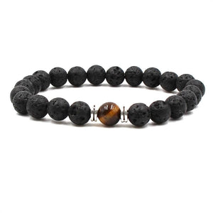 Black Lava Natural Stone 8 Reiki Chakra Stackable Beads Bracelet - The House of Awareness