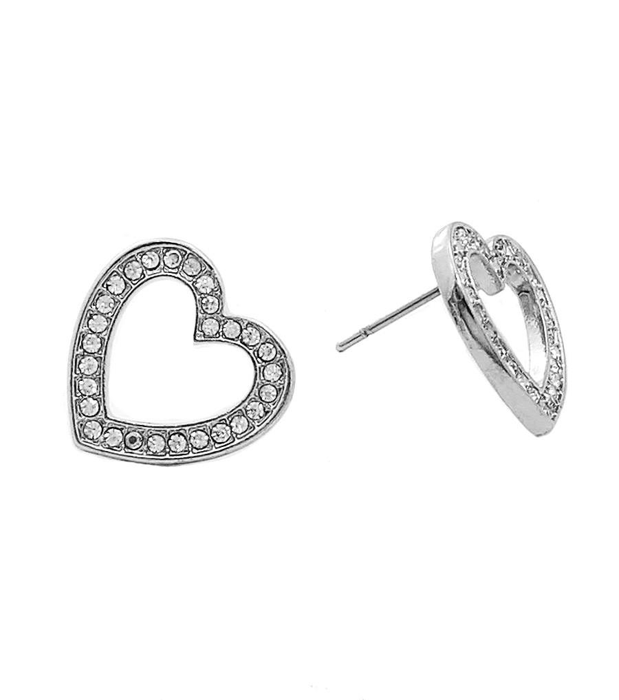 Rhodium Heart Stud Earrings for Valentine's Day , Women - Jewelry - Earrings - The House of Awareness, The House of Awareness  - 1