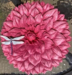 Fuchsia Flower and Dragonfly Decorative Garden Stone
