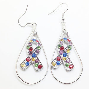Large Hoop Multi Color Ribbon Earrings - The House of Awareness