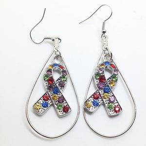 Large Hoop Multi Color Autism Awareness Ribbon Earrings - The House of Awareness