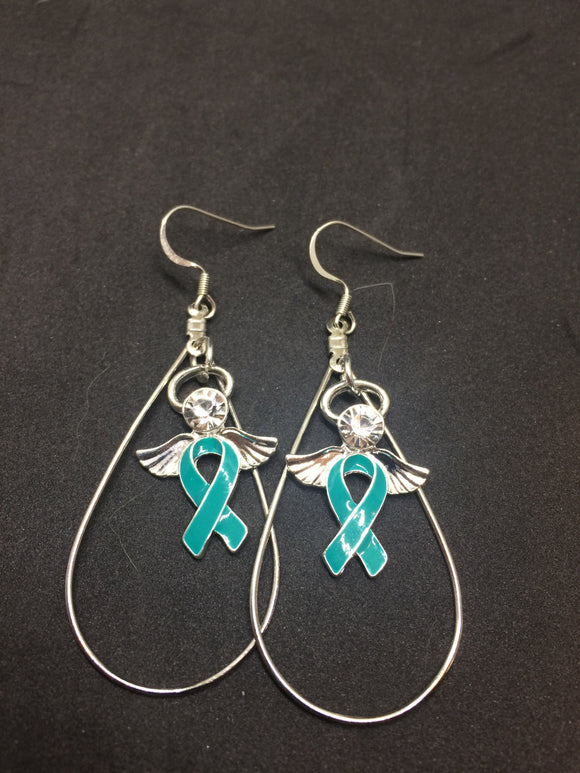 Teal Ribbon Angel Charm Earrings for Cancer Awareness - The House of Awareness