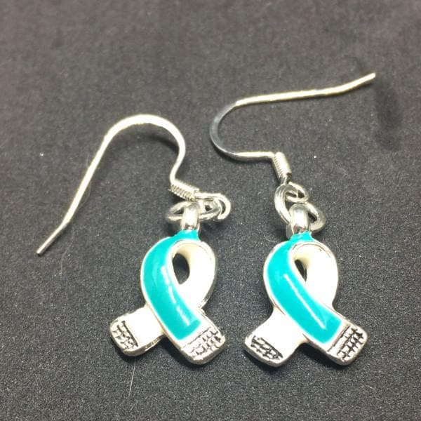 Teal Ribbon Charm Earrings for Cancer Awareness