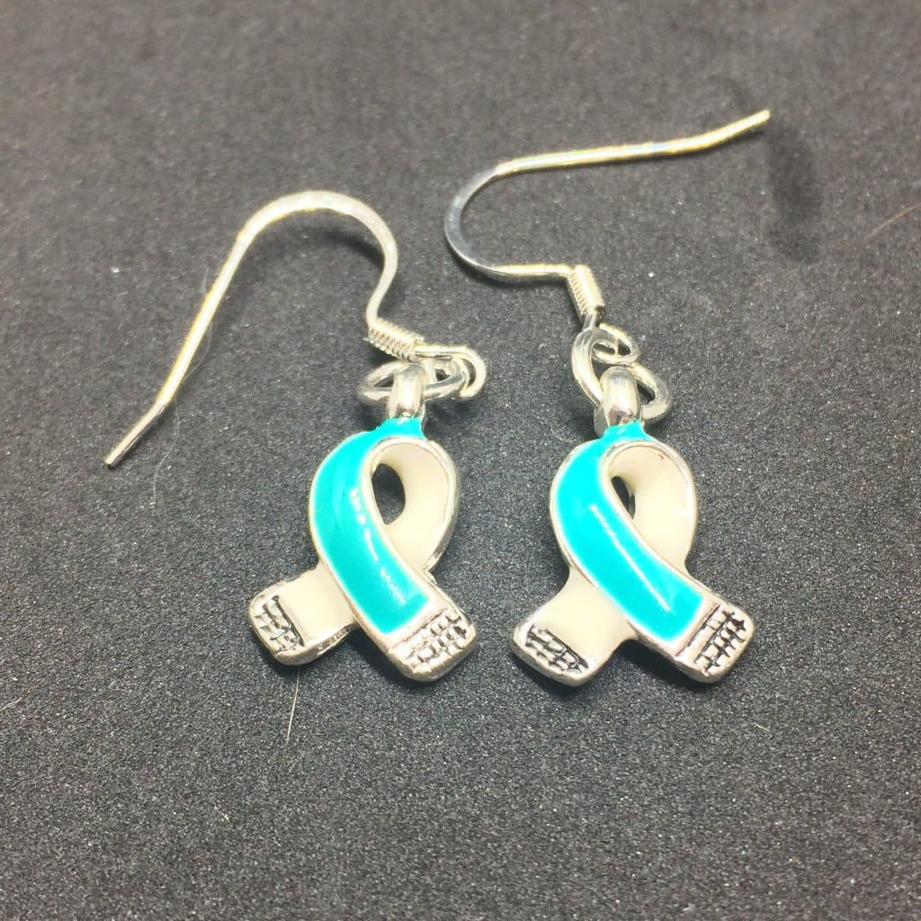 Teal Ribbon Charm Earrings for Cancer Awareness - The House of Awareness