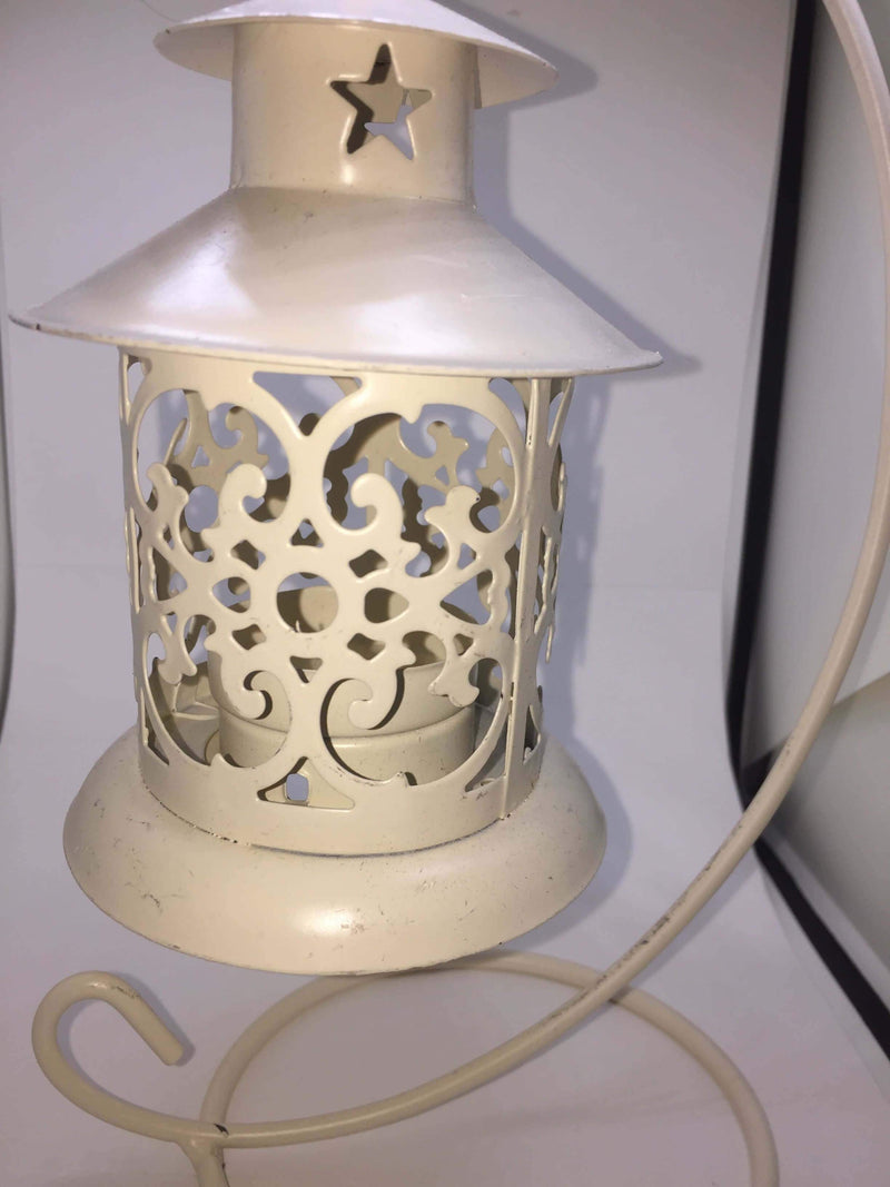 Hanging Small White Wrought Iron Candle Lantern - The House of Awareness
