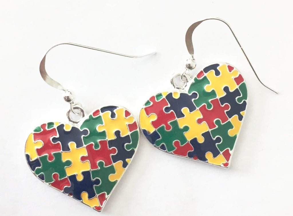 Autism Heart Charm Fish Hook Earrings - The House of Awareness