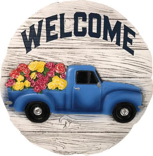 Welcome Blue Truck Decorative Garden Stone