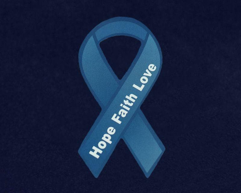 Small Hope Dark Blue Ribbon Magnet for Causes for Causes