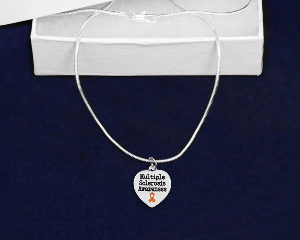 Multiple Sclerosis Awareness Ribbon Necklace and Bracelet Set - The House of Awareness