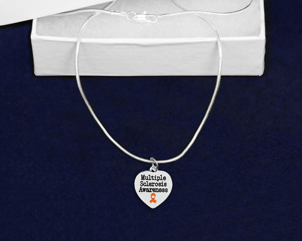 Multiple Sclerosis Awareness Ribbon Necklace and Bracelet Set