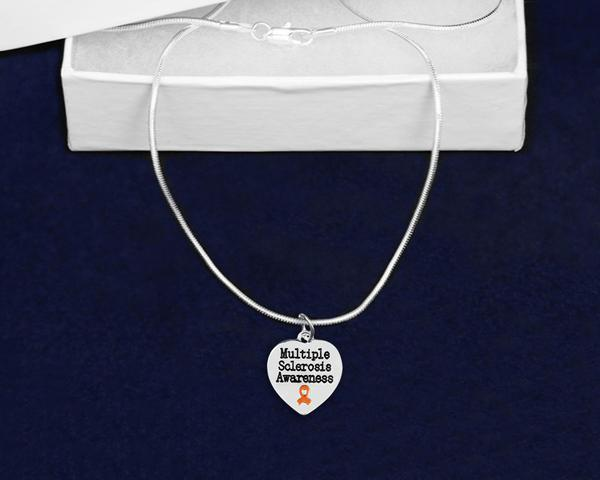 Multiple Sclerosis Awareness Ribbon Necklace - The House of Awareness