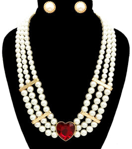 Pearl Layered Heart Necklace Set , Jewelry Sets - The House of Awareness, The House of Awareness  - 1