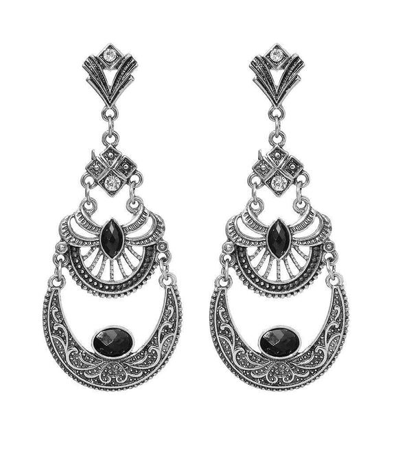 Antique Drop Black Earrings - The House of Awareness