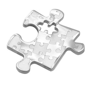 Autism Awareness Small Puzzle Design Stainless Steel Pendant - The House of Awareness