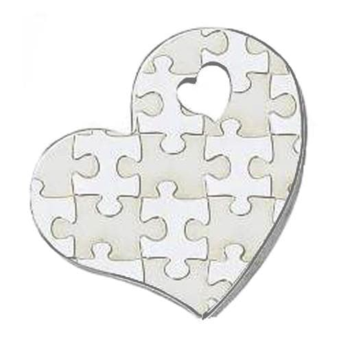 Autism Awareness Puzzle-Design Heart Shape Stainless Steel Pendant - The House of Awareness