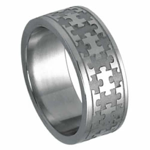 Steel Ring For Autism Awareness with Laser Cut Puzzle Piece Design - The House of Awareness
