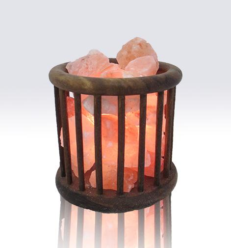 Wooden Basket Himalayan Salt Lamp - The House of Awareness