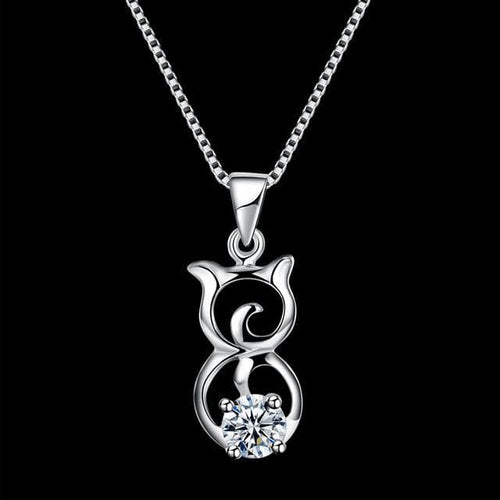 925 Sterling Silver Chain Cat Necklace - The House of Awareness