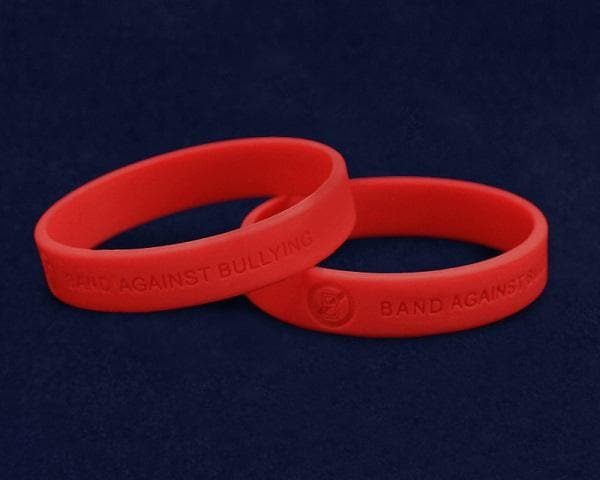 Adult Red Band Against Bullying Anti-Bullying Silicone Bracelet - The House of Awareness