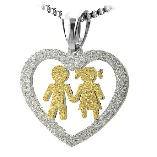 Stainless Steel Cut Out Heart Pendant w/ Gold Boy and Girl Holding Hands - The House of Awareness