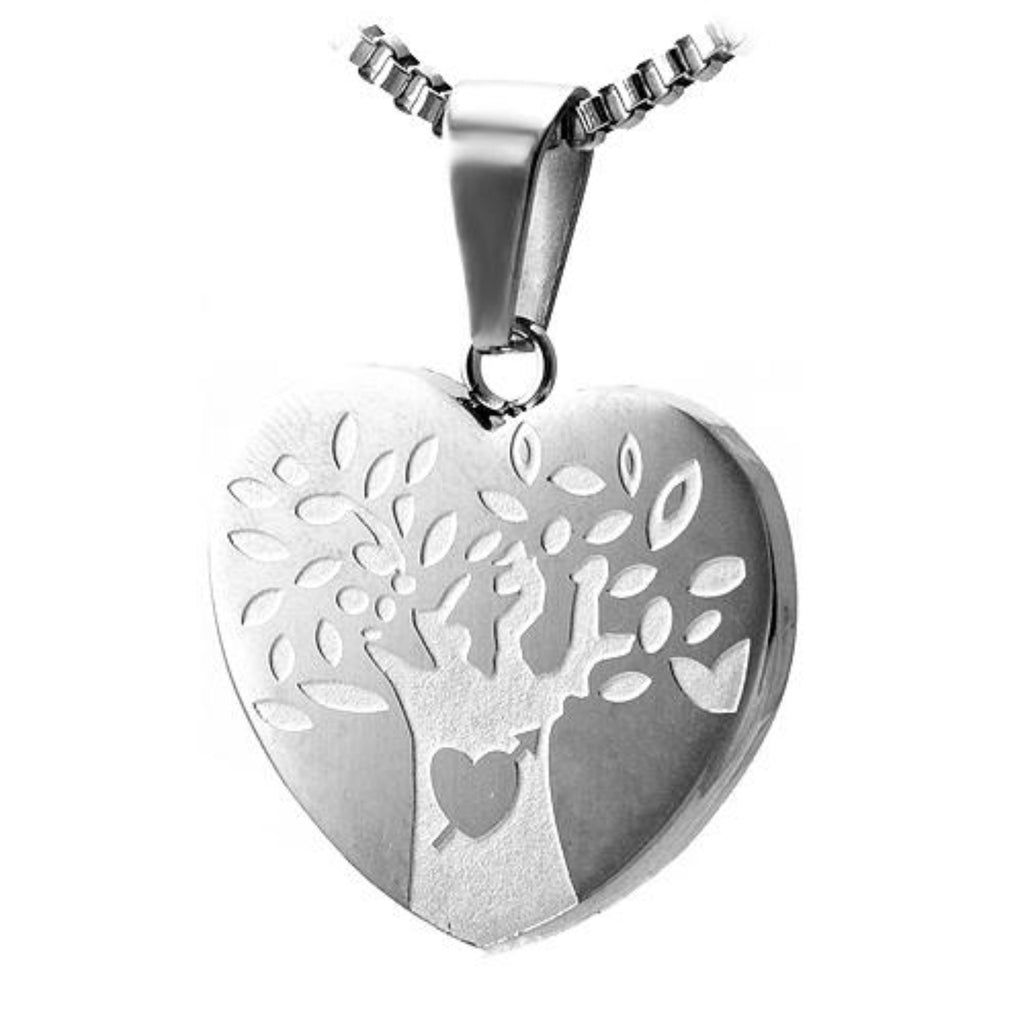 Stainless Steel Heart Pendant with Tree of Life Engraving