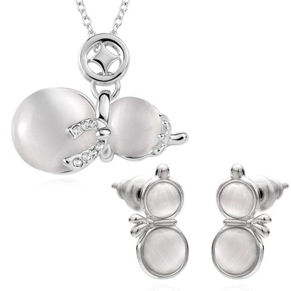 Snowmen Platinum Plated Crystal Cat eye stone Jewelry Set for Winter for Kids or Adults - The House of Awareness