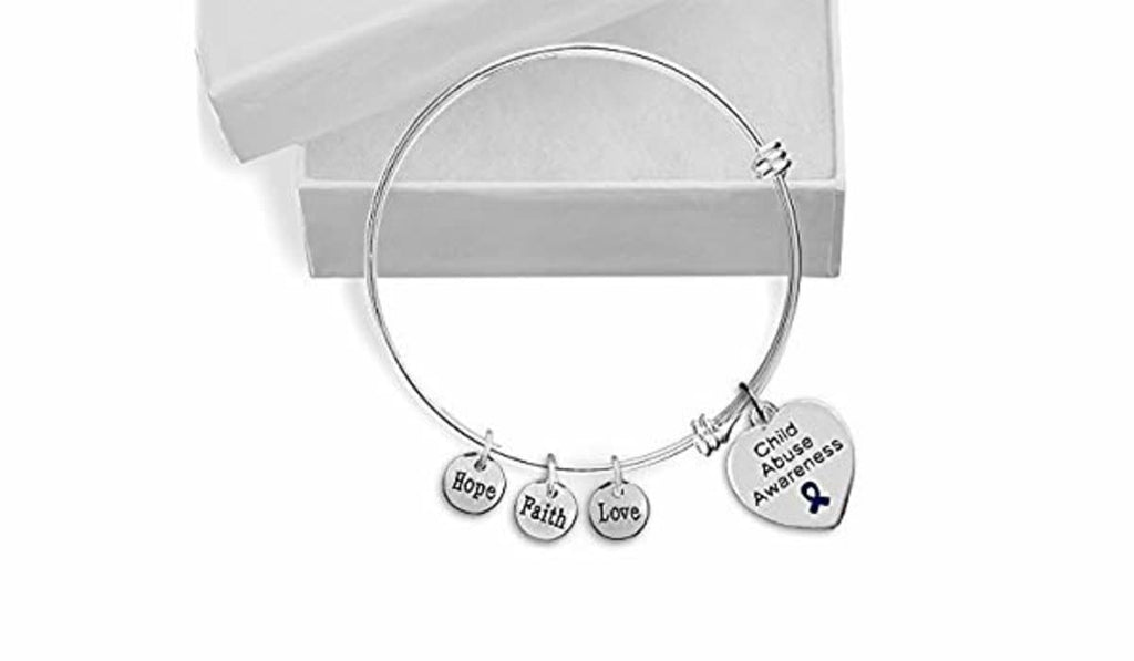 Child Abuse Heart Retractable Charm Bracelet - The House of Awareness