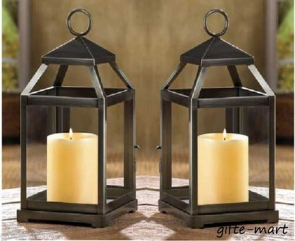 Set of 2 Rustic Silver Candle Lanterns