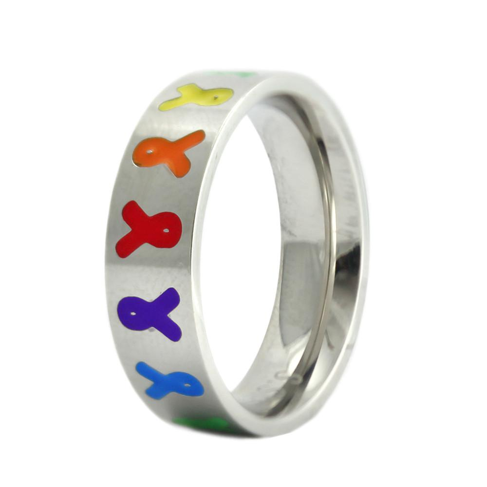 Stainless Steel Autism Awareness Ring with Colored Ribbons - The House of Awareness