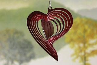"3"" Red Heart Wind Spinner - The House of Awareness"