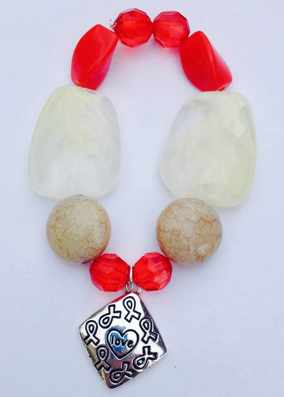 Awareness of Causes White and Red Beaded Bracelet with