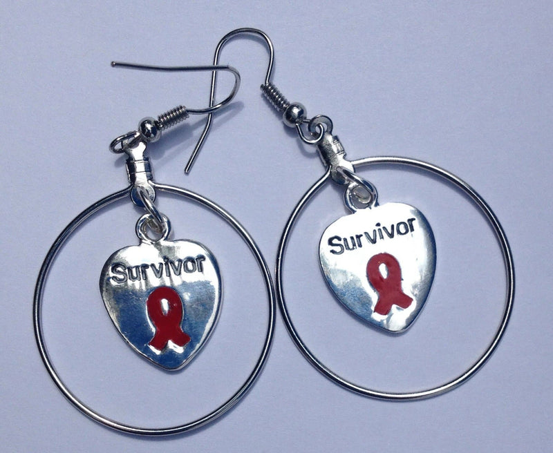 Survivor Charm Large Hoop Earrings and Necklace Set For Causes - The House of Awareness