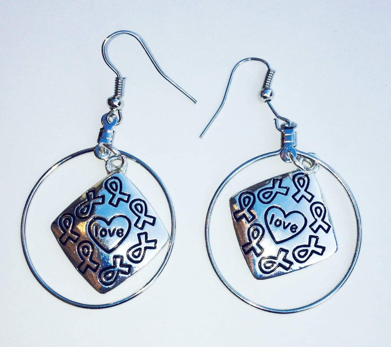 All Cause Love Charm Earrings with Medium Hoops - The House of Awareness
