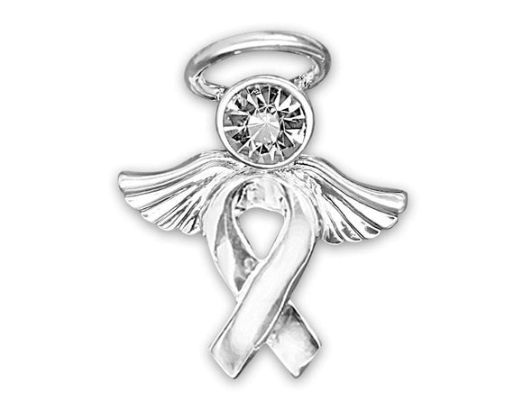 Silver Ribbon Awareness of Causes Pin - Angel Tac - The House of Awareness