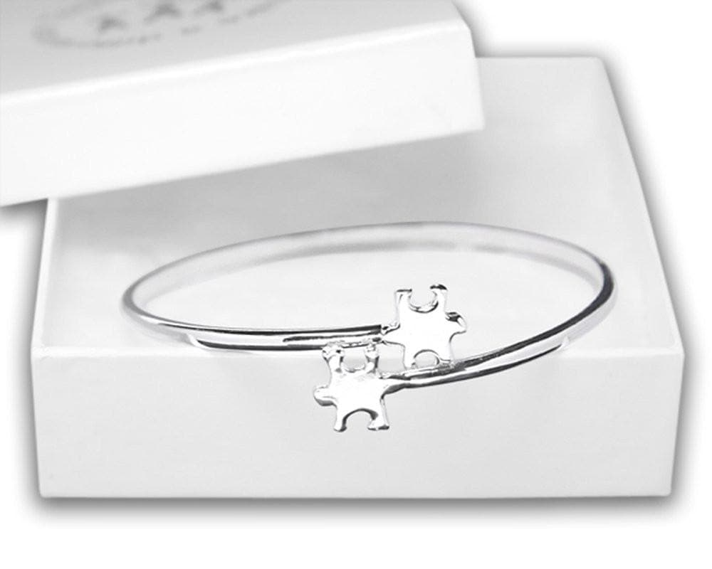 Elegant Autism ASD Awareness Puzzle Bangle Bracelet - The House of Awareness