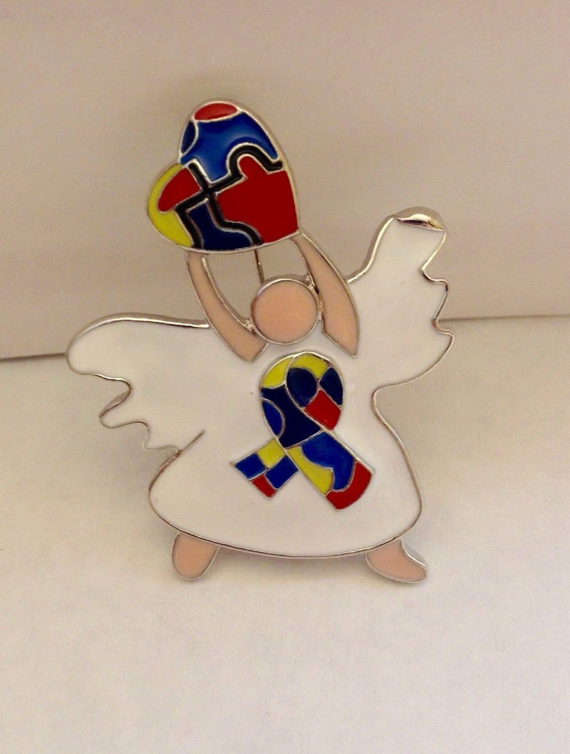 2 Autism Awareness Angel Brooches with White Dresses and Hearts - The House of Awareness