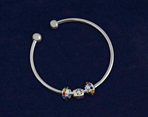 Autism Ribbon Open Bangle Bracelet - The House of Awareness