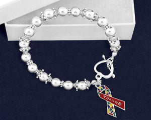 Autism Ribbon Beaded Charm Bracelet - The House of Awareness