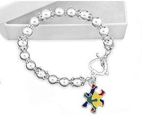 Autism Colored Puzzle Piece Beaded Bracelet - The House of Awareness