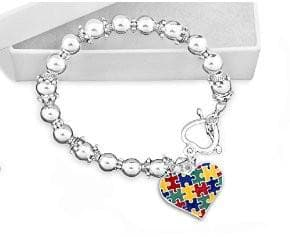 Colored Puzzle Piece Heart Beaded Bracelet for Autism Awareness - The House of Awareness